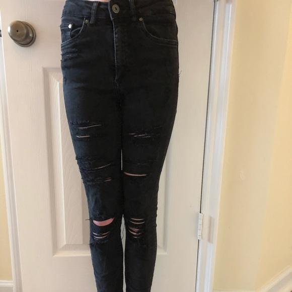1211a3058f3 H&M Jeans | Hm Super Skinny Ripped High Waisted Black | Poshmark